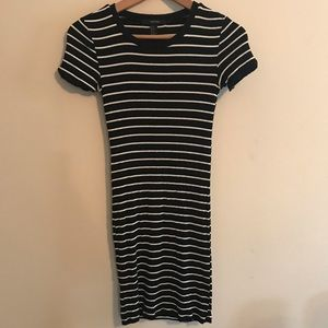 Black and White Striped Bodycon Dress Forever21